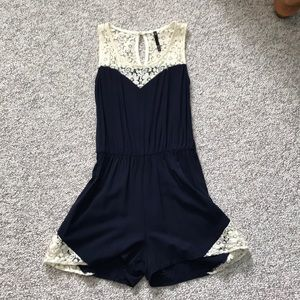 navy with lace romper